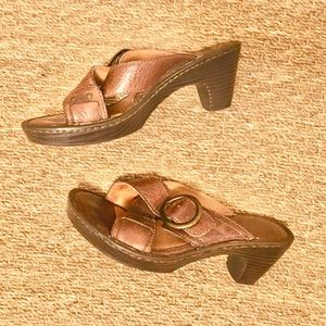 Born Leather Chunky Heel Slip On Sandals